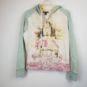 Lucky Brand Buddha Asian Graphic Hoodie sweatshirt
